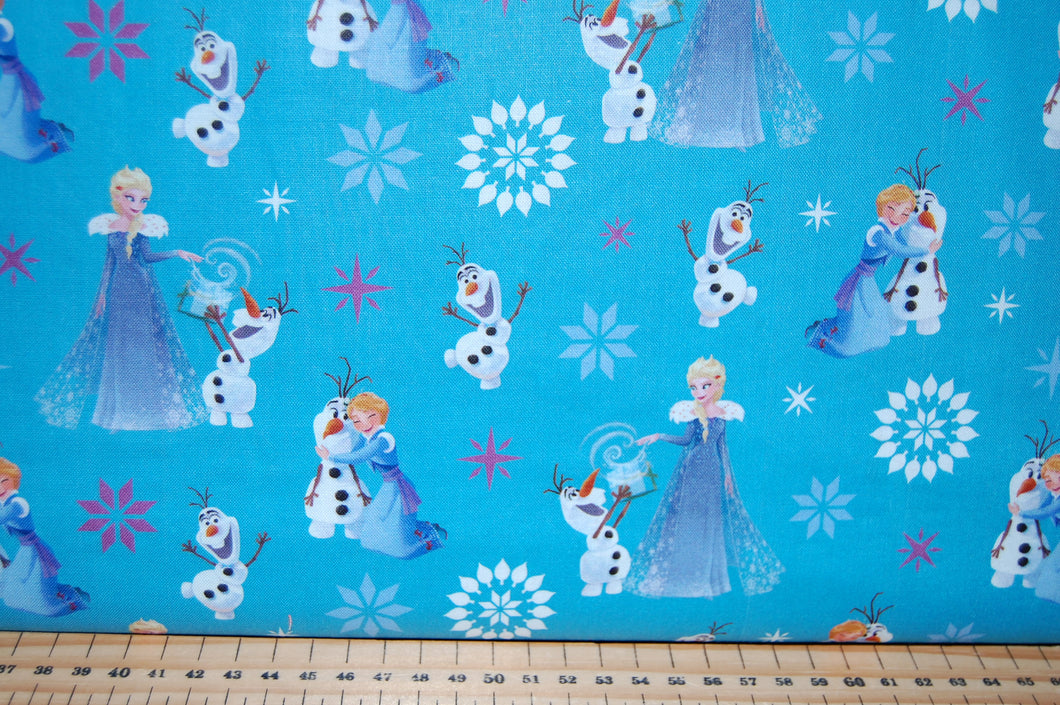 Fabric Shack Sewing Quilting Sew Fat Quarter Cotton Quilt Patchwork Dressmaking Disney Frozen Anna Elsa Snow Snowflake Olaf Snowman Licensed Licenced Blue Purple