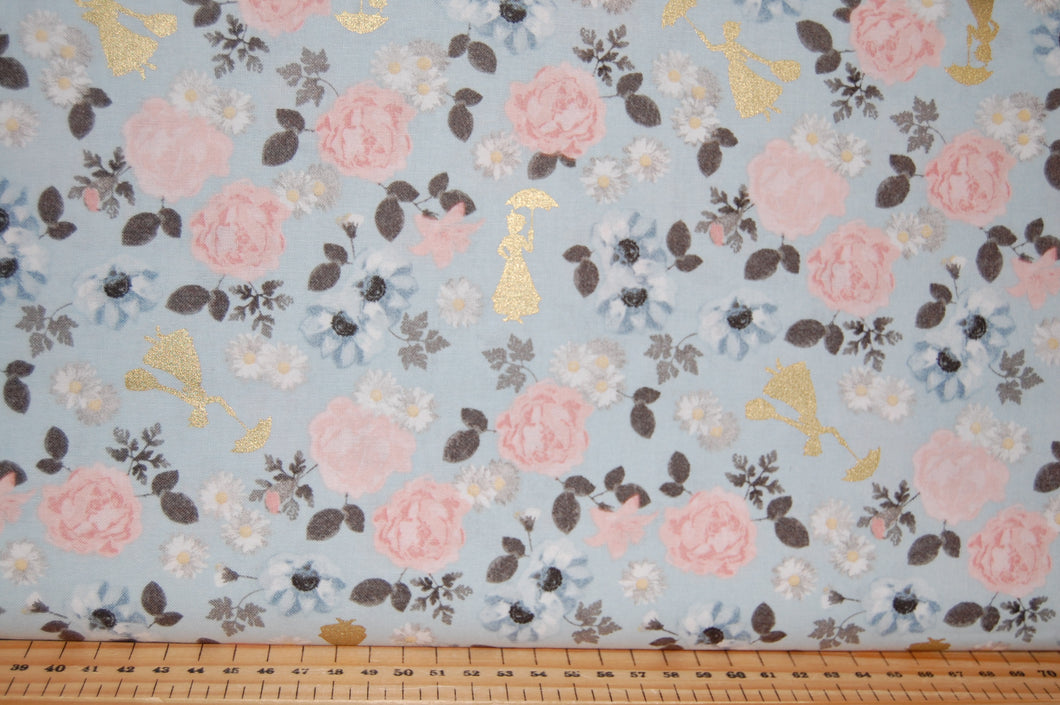 Fabric Shack Sewing Quilting Sew Fat Quarter Cotton Quilt Patchwork Dressmaking Flower Floral Metallic Umbrella Blossom Blue Grey Pink White London Bridge Tower of Saint St Pauls Cathedral
