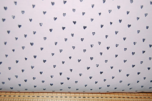 Fabric Shack Sewing Quilting Sew Fat Quarter Cotton Quilt Patchwork Dressmaking French Terry Jersey Knit T-Shirt Sweatshirt Hearts Grey Pink Blue Poppy Europe (2)