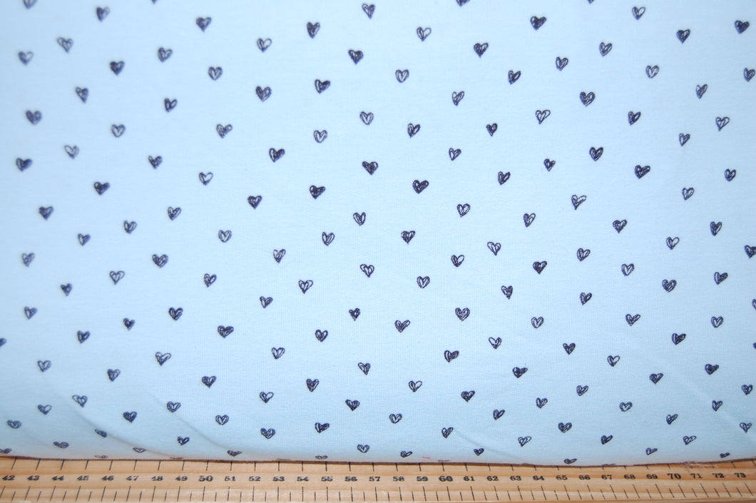 Fabric Shack Sewing Quilting Sew Fat Quarter Cotton Quilt Patchwork Dressmaking French Terry Jersey Knit T-Shirt Sweatshirt Hearts Grey Pink Blue Poppy Europe (5)