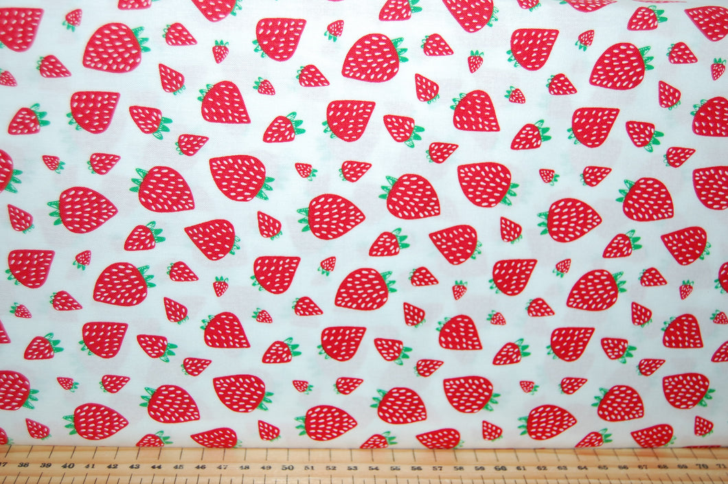 Fabric Shack Sewing Quilting Sew Fat Quarter Cotton Quilt Patchwork Dressmaking Gingiber for Moda Farm Fresh Chicken Hen Cockerel Pig Cow Panel Scallop Rain StripesGrey Turquoise Strawberries Strawberry (19)