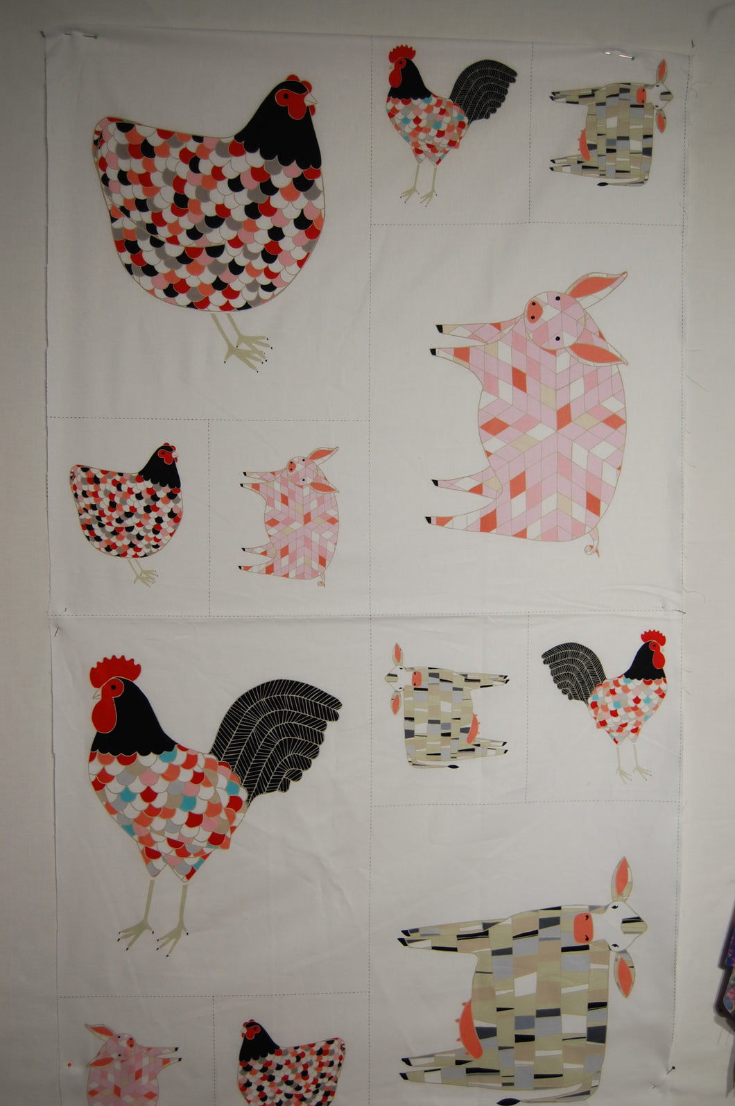 Fat Quarter Chickens Hens And Cockerels On Grass Cotton Quilting Sewing Fabric
