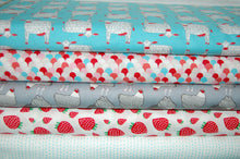 Fabric Shack Sewing Quilting Sew Fat Quarter Cotton Quilt Patchwork Dressmaking Gingiber for Moda Farm Fresh Chicken Hen Cockerel Pig Cow Panel Scallop Rain StripesGrey Turquoise Strawberries Strawberry (7)