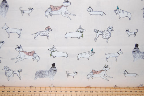 Fabric Shack Sewing Quilting Sew Fat Quarter Cotton Quilt Patchwork Dressmaking Howl + & and Hound Moda Lydia Nelson Dogs Dog Corgi Dalmation Dalmation Pug Super Hero Superhero Cape Poodle Paw Print (6)