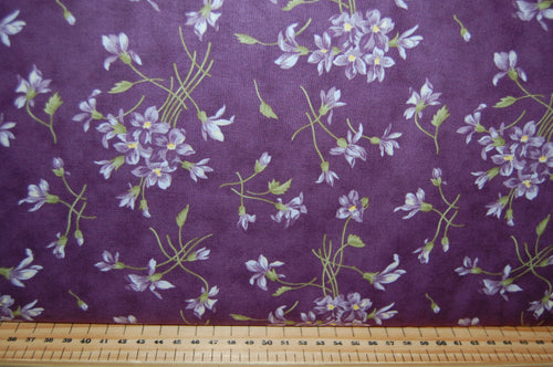 Fabric Shack Sewing Quilting Sew Fat Quarter Cotton Quilt Patchwork Dressmaking Jan Patek Moda Sweet Violet Fern Check Purple Violet Flower Floral