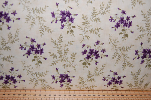 Fabric Shack Sewing Quilting Sew Fat Quarter Cotton Quilt Patchwork Dressmaking Jan Patek Moda Sweet Violet Fern Check Purple Violet Flower Floral (8)