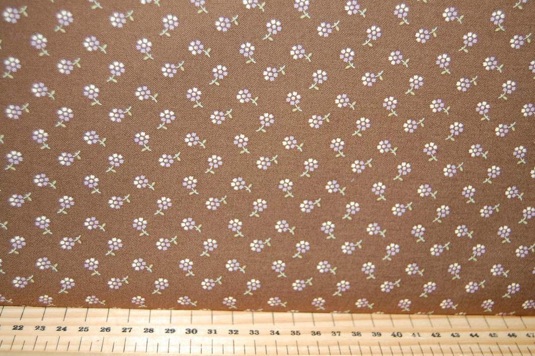 Fabric Shack Sewing Quilting Sew Fat Quarter Cotton Quilt Patchwork Dressmaking Jan Patek Moda Sweet Violet Fern Check Purple Violet Flower Floral Brown Ditsy
