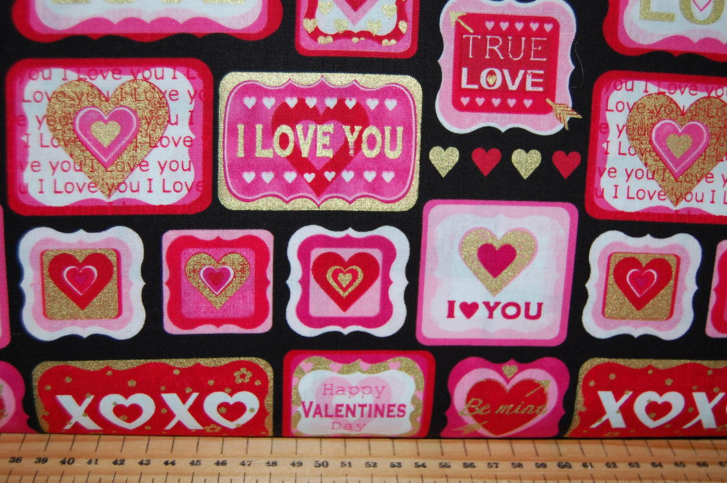 Fabric Shack Sewing Quilting Sew Fat Quarter Cotton Quilt Patchwork Dressmaking Kanvas Studios Benartex Cherish Hearts Metallic Mettallic Metalic Mettalic Valentines XOX Kisses Love You Kiss (3)