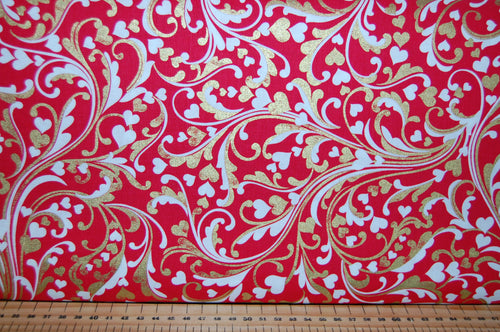 Fabric Shack Sewing Quilting Sew Fat Quarter Cotton Quilt Patchwork Dressmaking Kanvas Studios Benartex Cherish Hearts Metallic Mettallic Metalic Mettalic Valentines XOX Kisses Love You Kiss (2)