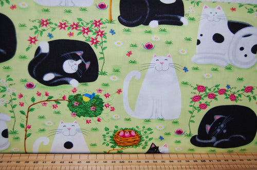 Fabric Shack Sewing Quilting Sew Fat Quarter Cotton Quilt Patchwork Dressmaking Kate Mawdsley Henry Glass Day Dreamers Black White Cats Kittens Mice Mouse Face Kitties Kitty Garden Panel (9)