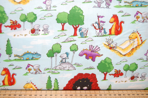 Fabric Shack Sewing Quilting Sew Fat Quarter Cotton Quilt Patchwork Dressmaking Kids Bedroom Curtains Ben Byrd Riley Blake Dragons Castle Knight Fairytale Wood Horses Flying Mythical Magical (2)