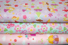 Fabric Shack Sewing Quilting Sew Fat Quarter Cotton Quilt Patchwork Dressmaking Kids Childrens Fairy Garden Gnome Toadstool House Lori Whitlock Riley Balke Pink Purple Lilac Flower Floral Wand