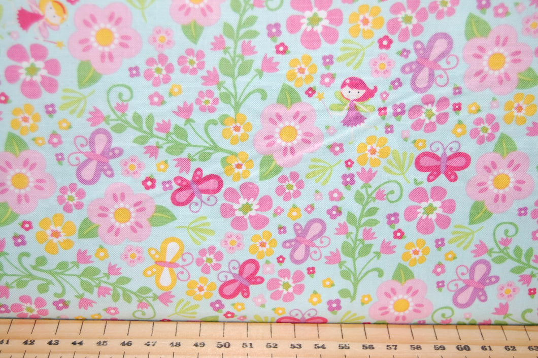 Fabric Shack Sewing Quilting Sew Fat Quarter Cotton Quilt Patchwork Dressmaking Kids Childrens Fairy Garden Gnome Toadstool House Lori Whitlock Riley Balke Pink Purple Lilac Flower Floral Wand (3)