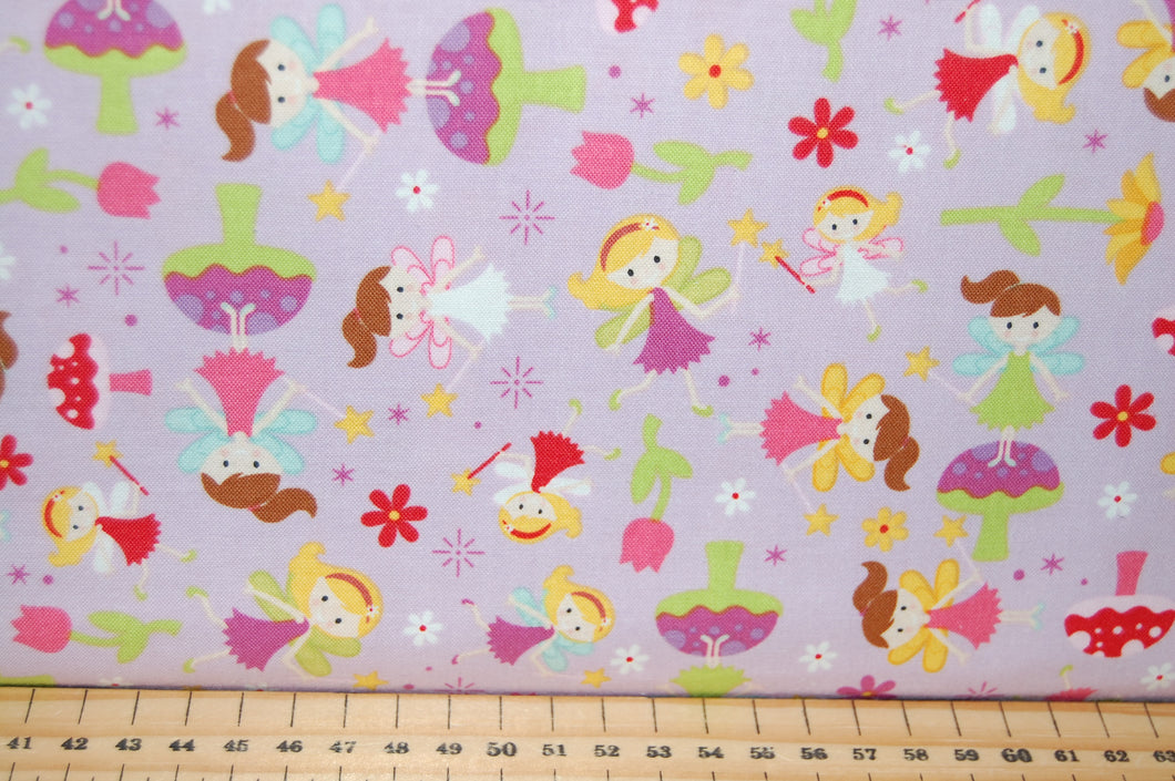 Fabric Shack Sewing Quilting Sew Fat Quarter Cotton Quilt Patchwork Dressmaking Kids Childrens Fairy Garden Gnome Toadstool House Lori Whitlock Riley Balke Pink Purple Lilac Flower Floral Wand (4)