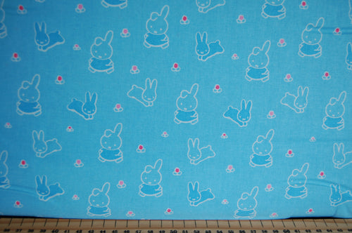 Fabric Shack Sewing Quilting Sew Fat Quarter Cotton Quilt Patchwork Dressmaking Kids Nursery Dick Bruna Miffy Spring Time Bedtime Flowers Pink Blue Mint Pastels Bunnies Rabbit Blue