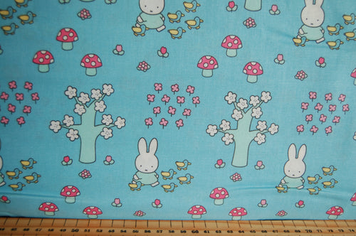 Fabric Shack Sewing Quilting Sew Fat Quarter Cotton Quilt Patchwork Dressmaking Kids Nursery Dick Bruna Miffy Spring Time Bedtime Flowers Pink Blue Mint Pastels Park Toadstool