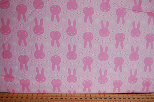 Fabric Shack Sewing Quilting Sew Fat Quarter Cotton Quilt Patchwork Dressmaking Kids Nursery Dick Bruna Miffy Spring Time Bedtime Flowers Pink Blue Mint Pastels Pink Faces