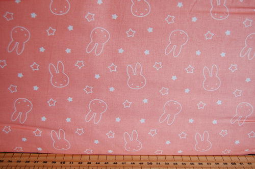 Fabric Shack Sewing Quilting Sew Fat Quarter Cotton Quilt Patchwork Dressmaking Kids Nursery Dick Bruna Miffy Spring Time Bedtime Flowers Pink Blue Mint Pastels Stars Peach