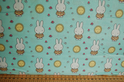 Fabric Shack Sewing Quilting Sew Fat Quarter Cotton Quilt Patchwork Dressmaking Kids Nursery Dick Bruna Miffy Spring Time Bedtime Flowers Pink Blue Mint Pastels sunshine Sun Summer Mint