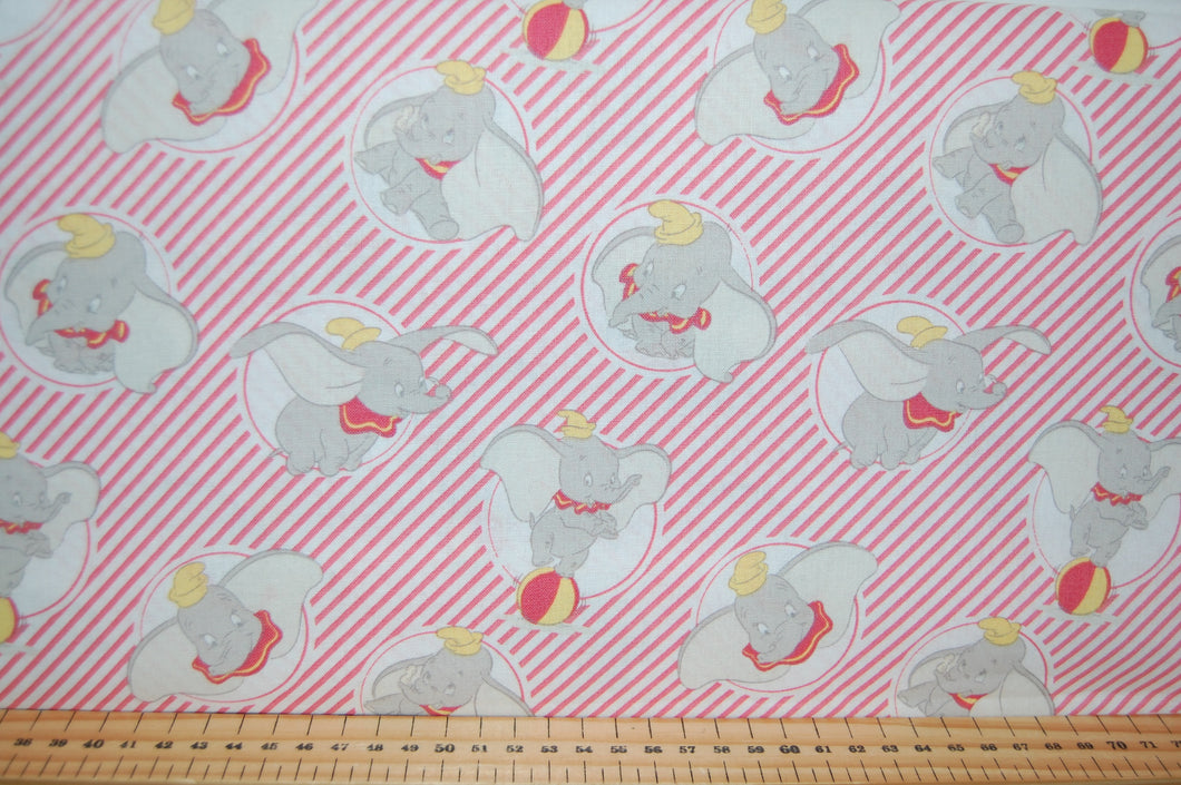 Fabric Shack Sewing Quilting Sew Fat Quarter Cotton Quilt Patchwork Dressmaking Kids Nursery Disney Dumbo Stripe Ball Balloon Circus Tent Flying Elephant (3)