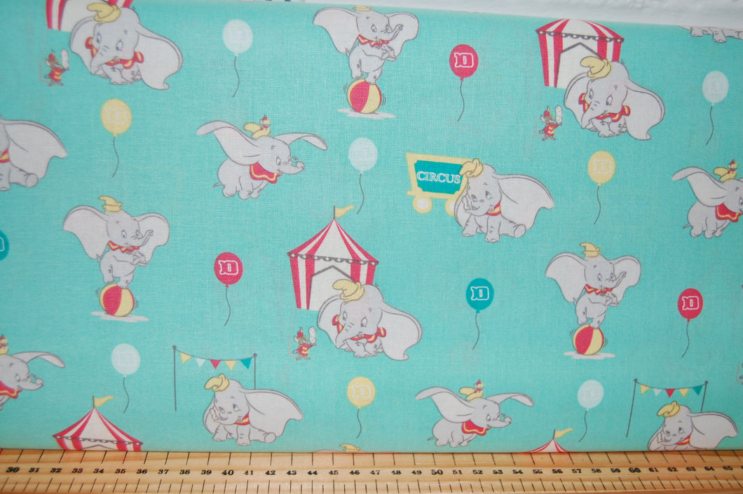 Fabric Shack Sewing Quilting Sew Fat Quarter Cotton Quilt Patchwork Dressmaking Kids Nursery Disney Dumbo Stripe Ball Balloon Circus Tent Flying Elephant Timothy Q