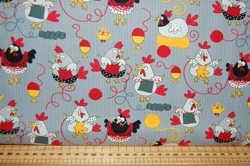 Fabric Shack Sewing Quilting Sew Fat Quarter Cotton Quilt Patchwork Dressmaking Knitting Animals Creatures Sheep Script Knitters Sayings Red Swirl Hens Chicken Wool Yarn (5)