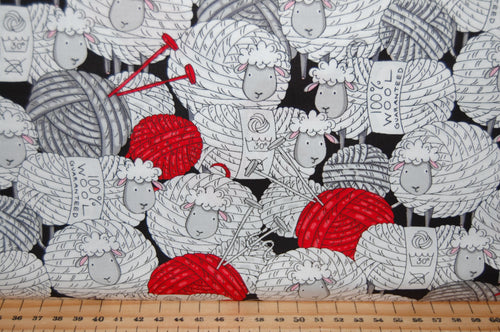 Fabric Shack Sewing Quilting Sew Fat Quarter Cotton Quilt Patchwork Dressmaking Knitting Animals Creatures Sheep Script Knitters Sayings Red Swirl Hens Chicken Wool Yarn (6)