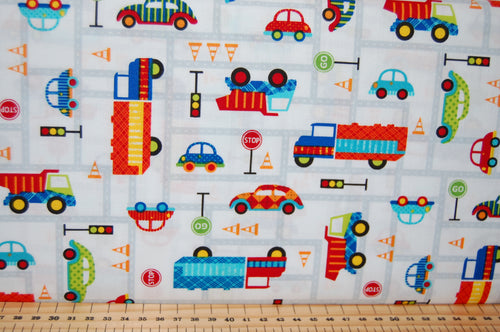 Fabric Shack Sewing Quilting Sew Fat Quarter Cotton Quilt Patchwork Dressmaking Laura Stone Studio E Off We Go Dog Rabbit Animal Balloon Car Truck Traffic Road Cones Stop Go Light Dumper Digger Lorry (6)