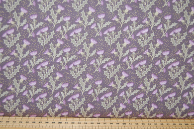 Fabric Shack Sewing Quilting Sew Fat Quarter Cotton Quilt Patchwork Dressmaking Lewis and & Irene Celtic Reflections Scottish Scotland Thistle Stag Scotty Highland Metallic Purple Lavender (7)