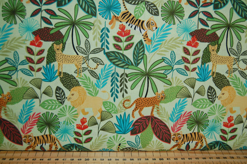 Fabric Shack Sewing Quilting Sew Fat Quarter Cotton Quilt Patchwork Dressmaking Lewis & and Irene Panthera Lion Tiger Snow Albino Leopard Panther Jungle Tropical Trees Stripes (2)