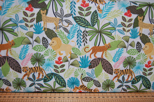 Fabric Shack Sewing Quilting Sew Fat Quarter Cotton Quilt Patchwork Dressmaking Lewis & and Irene Panthera Lion Tiger Snow Albino Leopard Panther Jungle Tropical Trees Stripes (3)