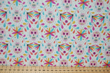 Fabric Shack Sewing Quilting Sew Fat Quarter Cotton Quilt Patchwork Dressmaking Lewis and Irene Paracus Day of the Dead Sugar Skulls Día de Muertos Grey Cream (4)