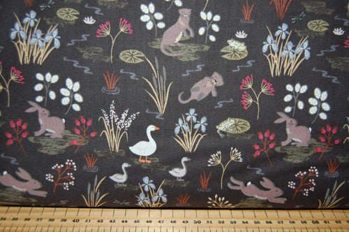 Fabric Shack Sewing Quilting Sew Fat Quarter Cotton Quilt Patchwork Dressmaking Lewis & and Irene Water Meadow Duck Hare Rabbit Otter Frog Pond Starling Murmuration Black Blue Grey Bird Flock (6)