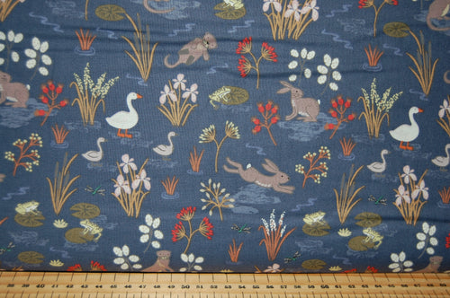 Fabric Shack Sewing Quilting Sew Fat Quarter Cotton Quilt Patchwork Dressmaking Lewis and Irene Water Meadow Duck Hare Rabbit Otter Frog Pond Starling Murmuration Black Blue Grey Bird Flock (2)