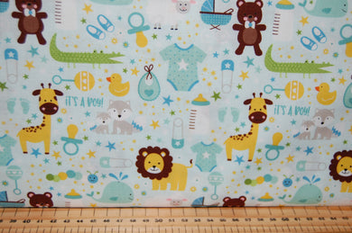Fabric Shack Sewing Quilting Sew Fat Quarter Cotton Quilt Patchwork Dressmaking Lori Whitlock Riley Blake Sweet Baby Boy Girl Blue Nursery Lion Teddy Teddie Bear Giraffe Rompers Footprints Croco