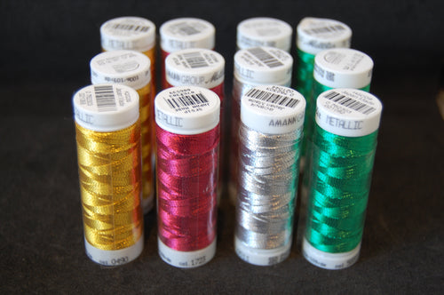 Fabric Shack Sewing Quilting Sew Fat Quarter Cotton Quilt Patchwork Dressmaking Mettler Metallic Mettalic Thread Gold Green Silver Red