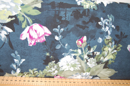 Fabric Shack Sewing Quilting Sew Fat Quarter Cotton Quilt Patchwork Dressmaking Michael Miller Delicata Serafina Midnite Aubergine Purple Blue Goth Flowers Floral Roses Blooms