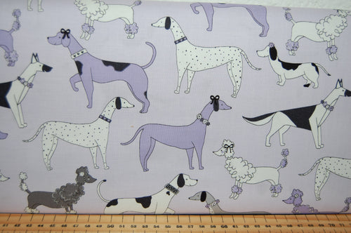 Fabric Shack Sewing Quilting Sew Fat Quarter Cotton Quilt Patchwork Dressmaking Michael Miller Paw Prints Dalmatian Pointer Poodle Dachshund Sausage Dog Dogs Weiner  Lilac Purple