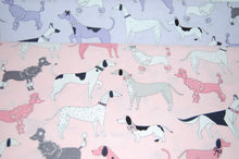 Fabric Shack Sewing Quilting Sew Fat Quarter Cotton Quilt Patchwork Dressmaking Michael Miller Paw Prints Dalmatian Pointer Poodle Dachshund Sausage Dog Dogs Weiner Pink