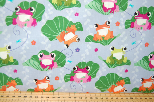 Fabric Shack Sewing Quilting Sew Fat Quarter Cotton Quilt Patchwork Dressmaking Michael Miller Prints Charming Prince Unfrogettable Unforgettable Frog Lily Pad Pond Lilac Purple
