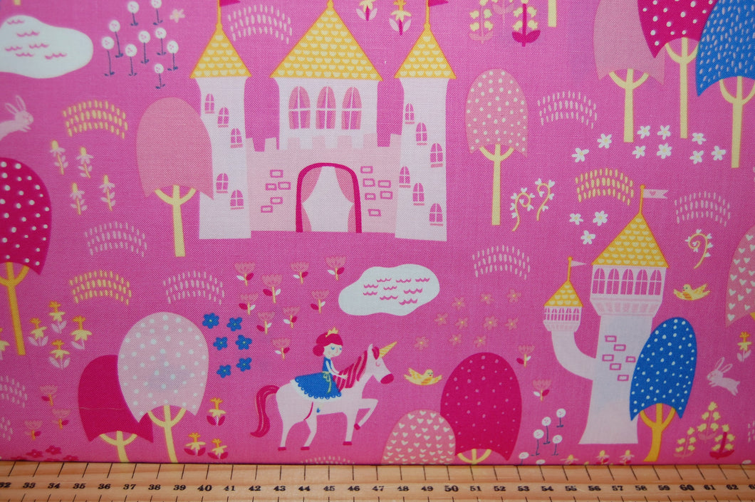 Fabric Shack Sewing Quilting Sew Fat Quarter Cotton Quilt Patchwork Dressmaking Moda Stacy Iest Hsu Once Upon a Time Princess Fairy Unicorn Enchanted Wood Panel Doll Castle Princesses Pink Purple L (3)