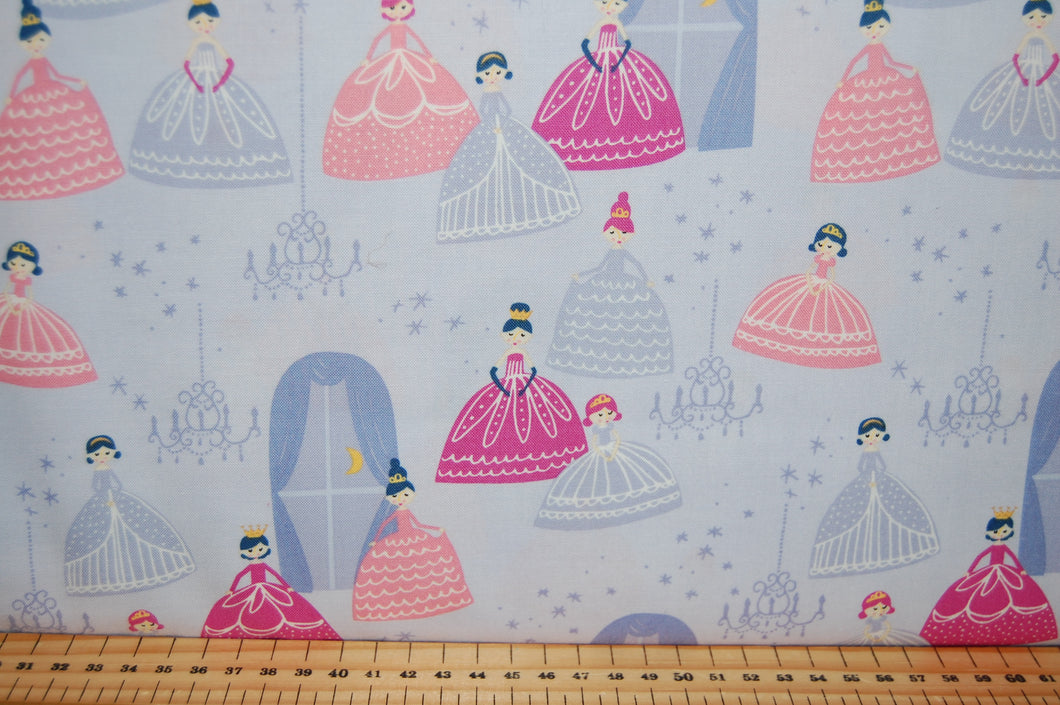 Fabric Shack Sewing Quilting Sew Fat Quarter Cotton Quilt Patchwork Dressmaking Moda Stacy Iest Hsu Once Upon a Time Princess Fairy Unicorn Enchanted Wood Panel Doll Castle Princesses Pink Purple L (4)