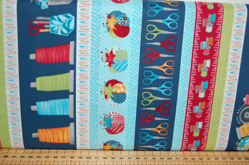 Fabric Shack Sewing Quilting Sew Fat Quarter Cotton Quilt Patchwork Dressmaking Notions Machine Studio E Dana Saulnier Patterned Peacock Crafty Studio Scissors Thread Pin Cushion