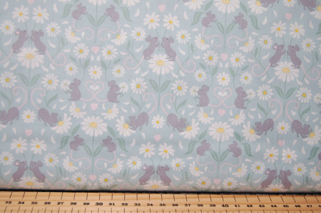 Fabric Shack Sewing Quilting Sew Fat Quarter Cotton Quilt Patchwork Dressmaking Nursery Kids Mice Mouse Daisy Daisies Floral Flower Lewis and Irene Love Me Love Me Not He Loves Pink Grey Blue Cr (2)