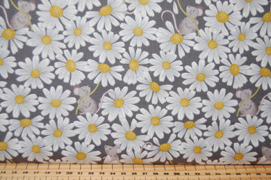 Fabric Shack Sewing Quilting Sew Fat Quarter Cotton Quilt Patchwork Dressmaking Nursery Kids Mice Mouse Daisy Daisies Floral Flower Lewis and Irene Love Me Love Me Not He Loves Pink Grey Blue Cr (3)