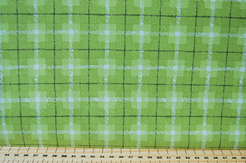 Fabric Shack Sewing Quilting Sew Fat Quarter Cotton Quilt Patchwork Dressmaking One Canoe Two Moda Check Green White