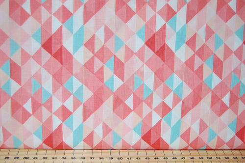 Fabric Shack Sewing Quilting Sew Fat Quarter Cotton Quilt Patchwork Dressmaking One Canoe Two Moda Floral Flower Check Fleck Pink Green White Trianges