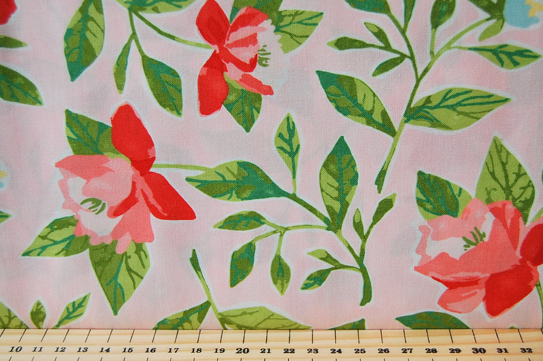 Fabric Shack Sewing Quilting Sew Fat Quarter Cotton Quilt Patchwork Dressmaking One Canoe Two Moda Floral Flower Check Fleck Pink Green White