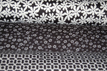 Fabric Shack Sewing Quilting Sew Fat Quarter Cotton Quilt Patchwork Dressmaking Ponte Roma Di Flower Floral Rope Black White Monochrome Jersey Stretch Double Knit