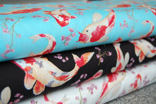 Fabric Shack Sewing Quilting Sew Fat Quarter Cotton Poplin Quilt Patchwork Koi Goldfish Rose & and Hubble Pond Blue Black White Sky